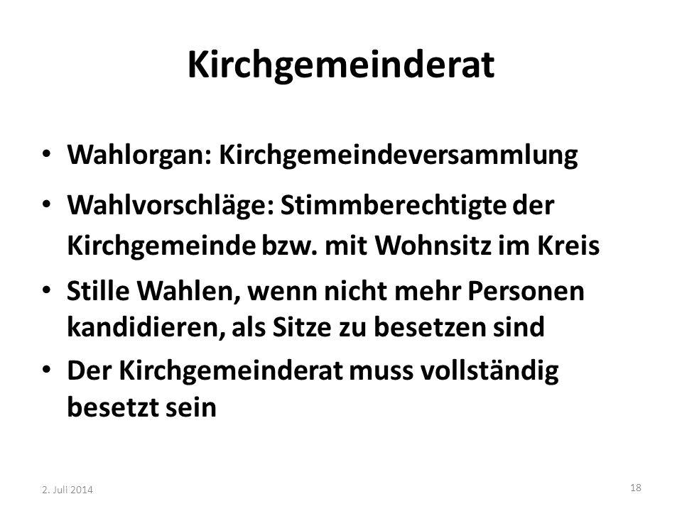 Kirchgemeinderat Wahlorgan: Kirchgemeindeversammlung