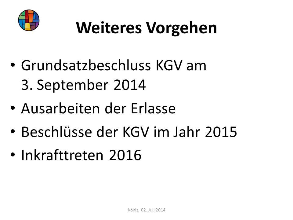 Weiteres Vorgehen Grundsatzbeschluss KGV am 3. September 2014