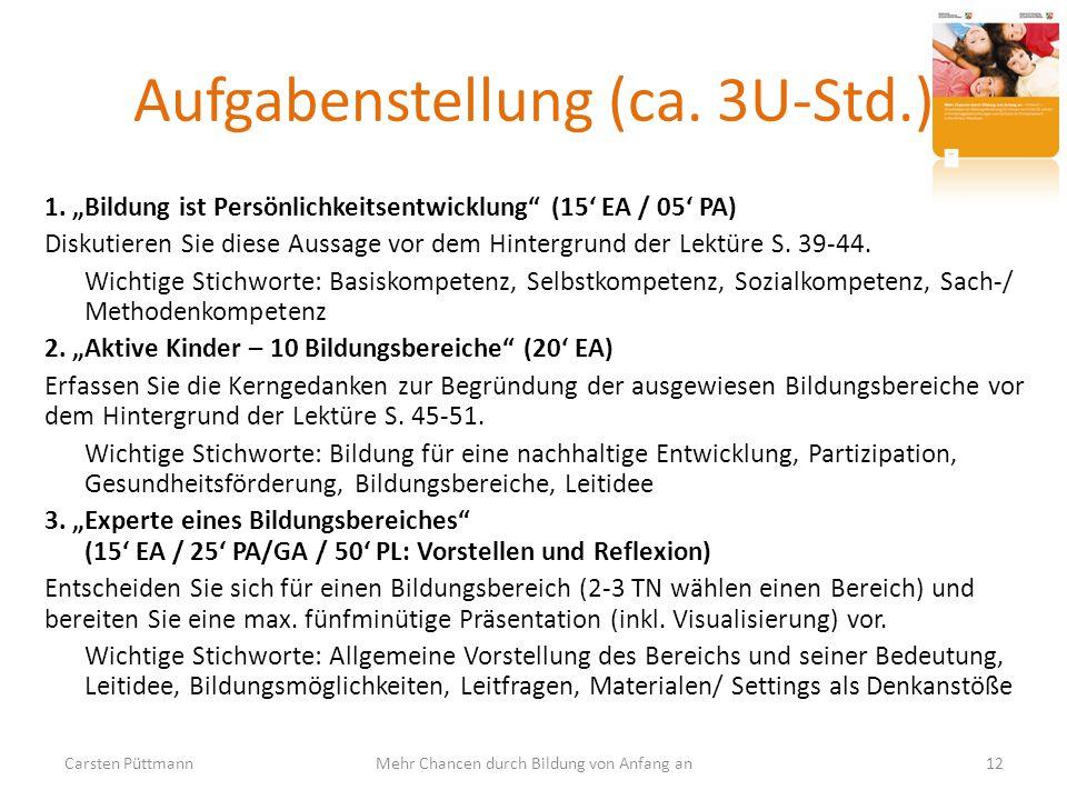 Aufgabenstellung (ca. 3U-Std.)