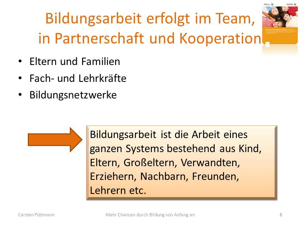 Bildungsarbeit erfolgt im Team, in Partnerschaft und Kooperation