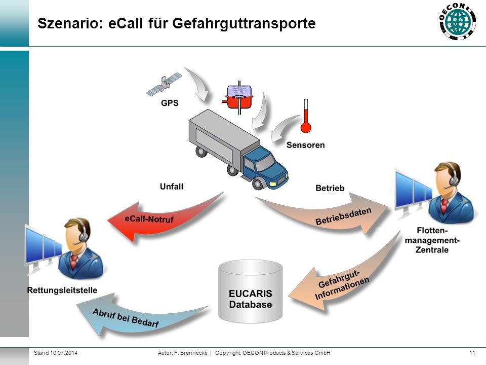 Szenario: eCall für Gefahrguttransporte