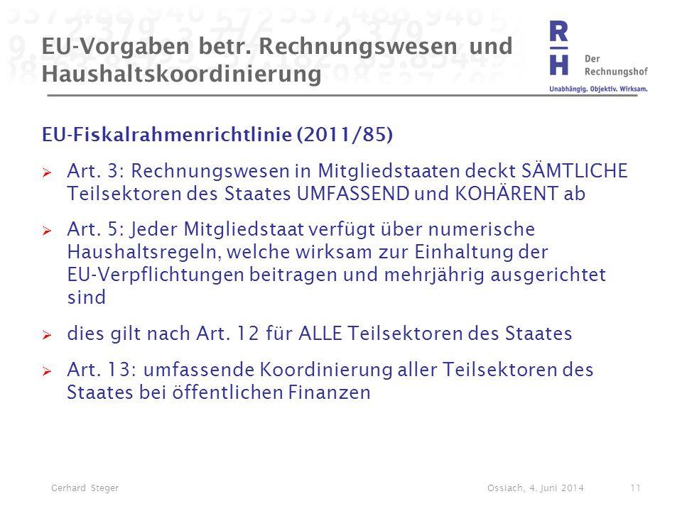 EU-Vorgaben betr. Rechnungswesen und Haushaltskoordinierung