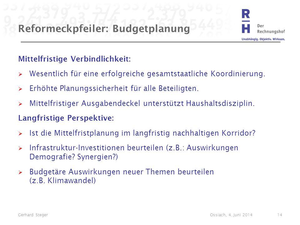 Reformeckpfeiler: Budgetplanung