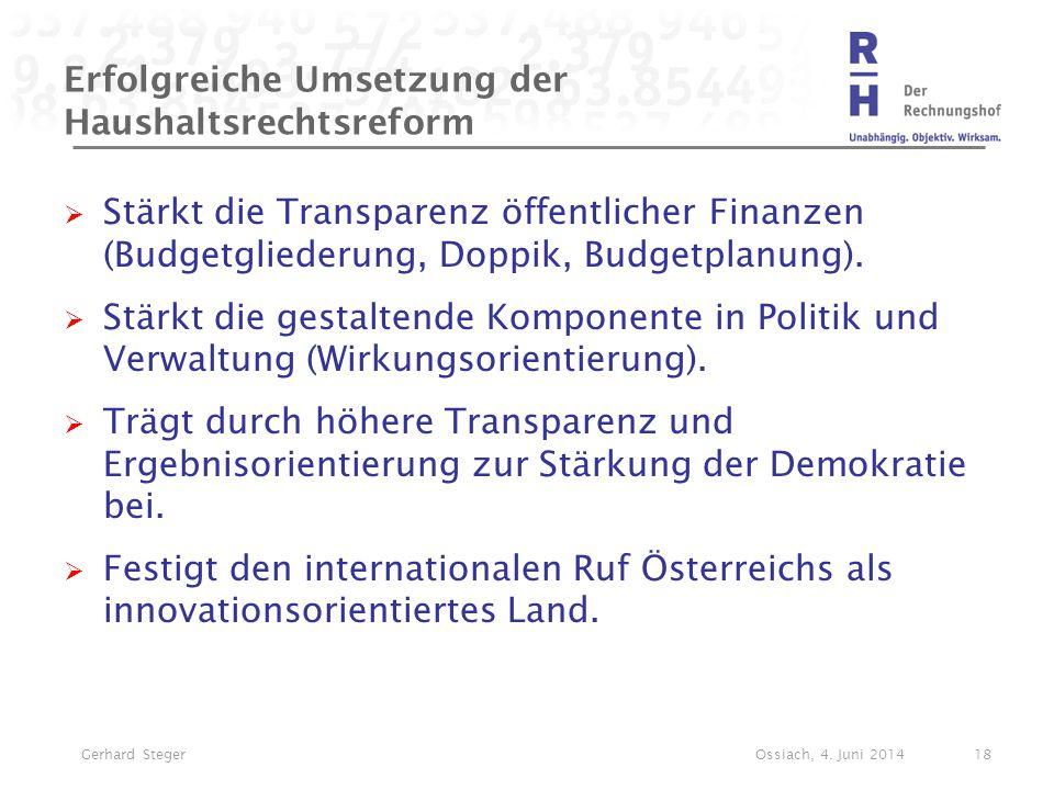 Erfolgreiche Umsetzung der Haushaltsrechtsreform