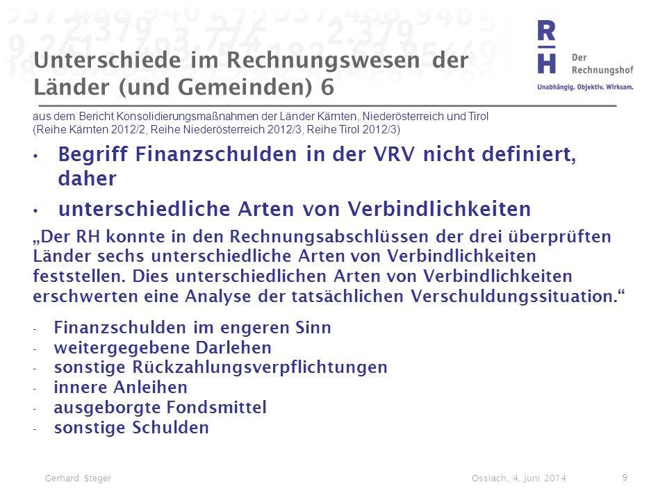Unterschiede im Rechnungswesen der Länder (und Gemeinden) 6