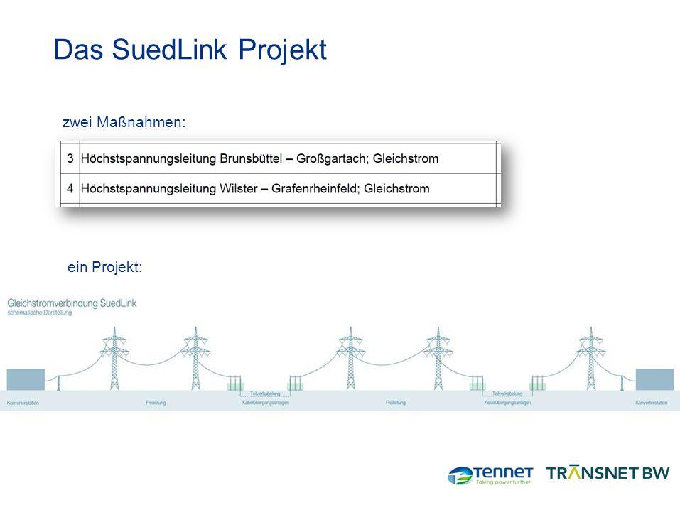 Das SuedLink Projekt zwei Maßnahmen: ein Projekt: