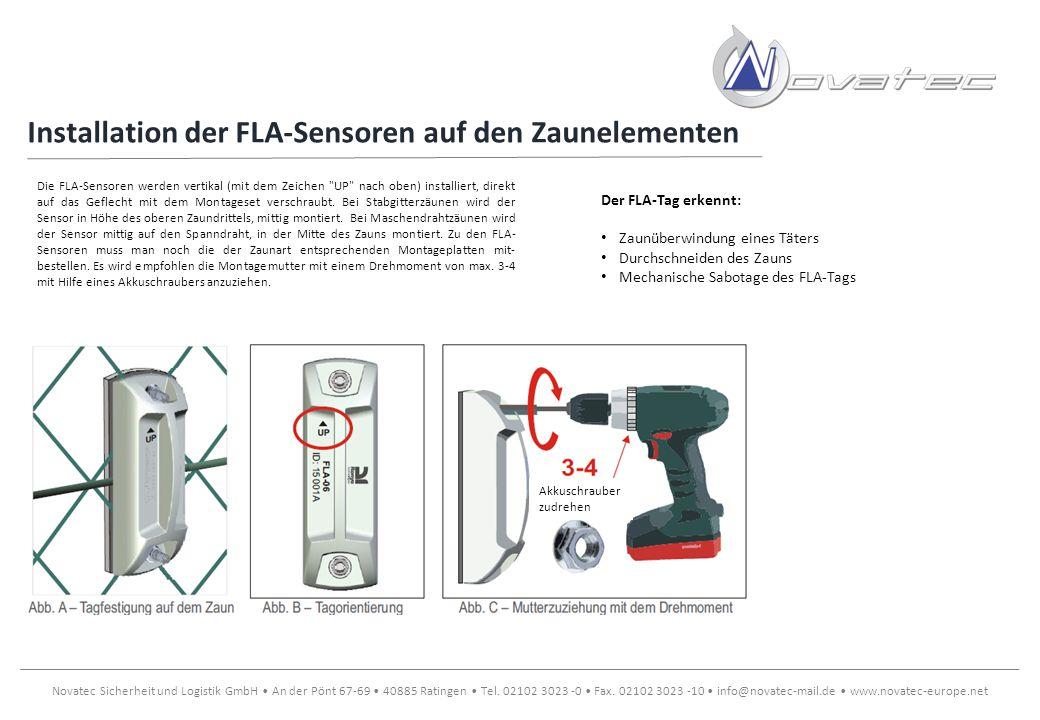 Installation der FLA-Sensoren auf den Zaunelementen
