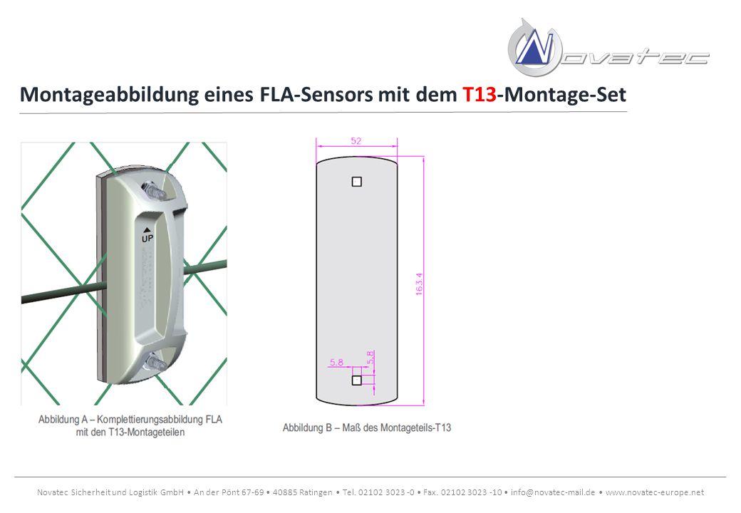 Montageabbildung eines FLA-Sensors mit dem T13-Montage-Set