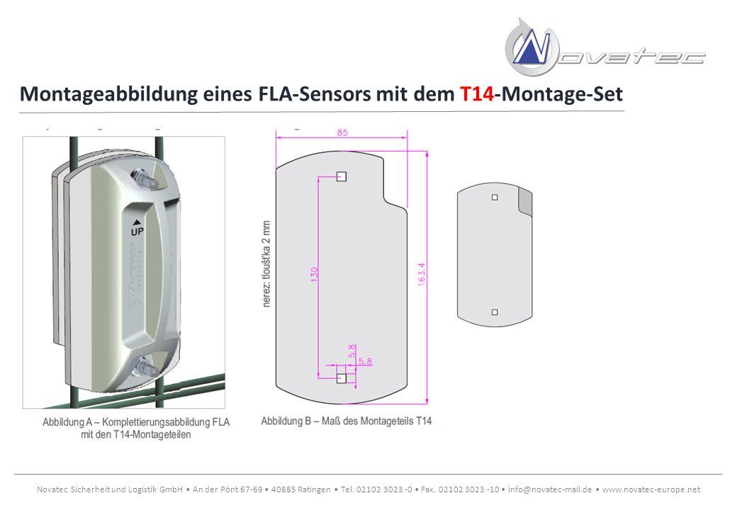 Montageabbildung eines FLA-Sensors mit dem T14-Montage-Set