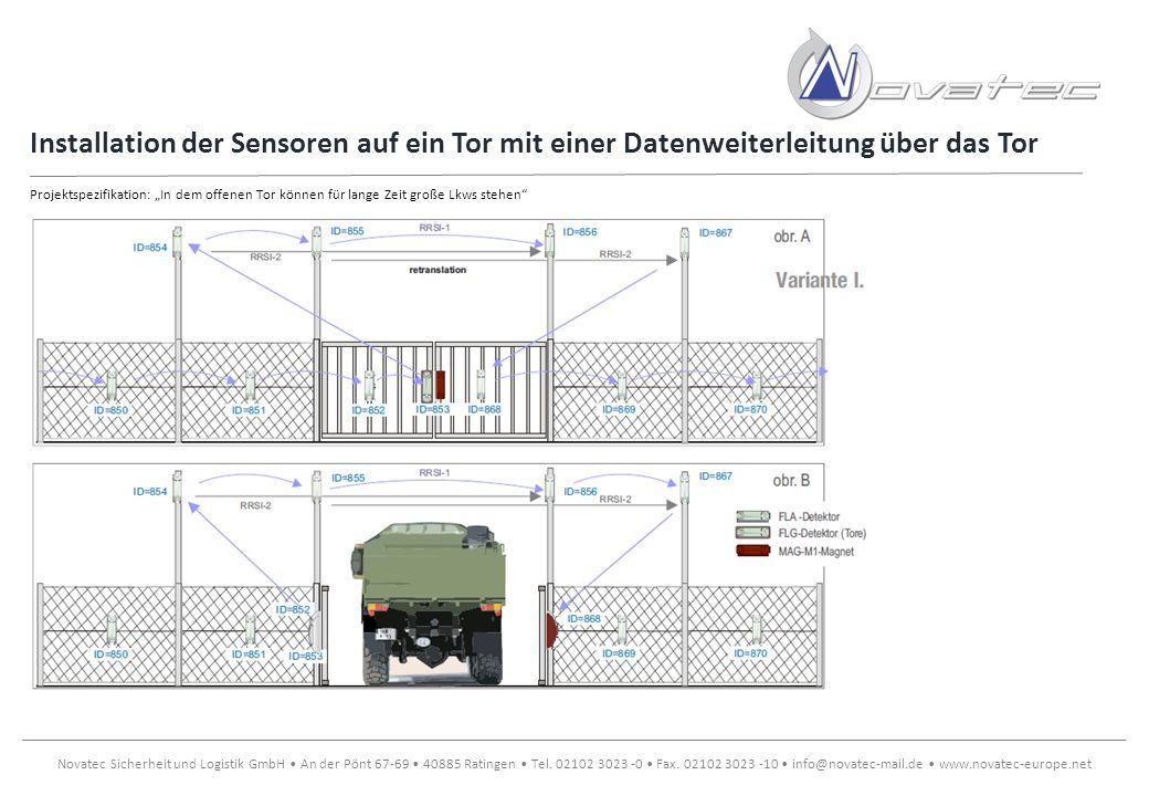 Installation der Sensoren auf ein Tor mit einer Datenweiterleitung über das Tor