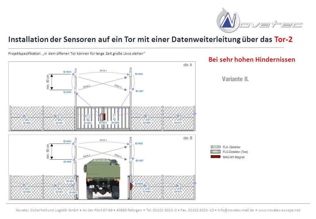 Installation der Sensoren auf ein Tor mit einer Datenweiterleitung über das Tor-2