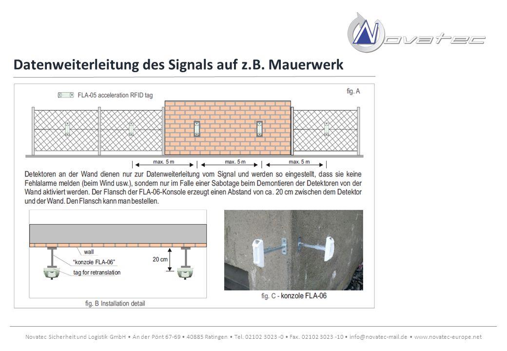 Datenweiterleitung des Signals auf z.B. Mauerwerk
