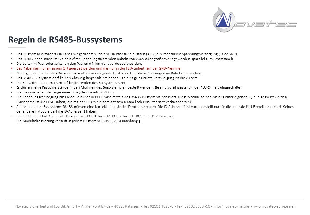 Regeln de RS485-Bussystems