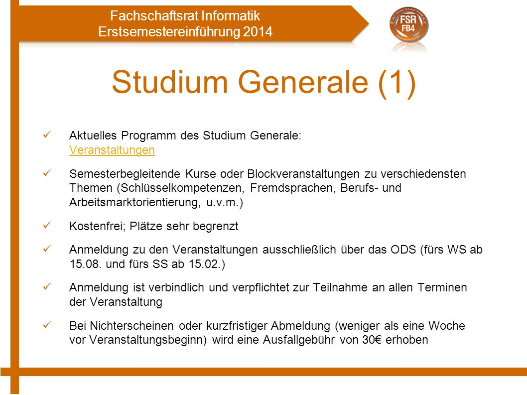 Studium Generale (1) Aktuelles Programm des Studium Generale: Veranstaltungen.