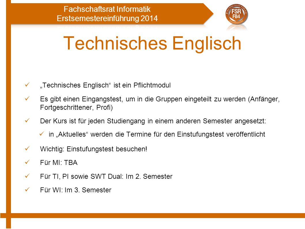 """Technisches Englisch """"Technisches Englisch ist ein Pflichtmodul"""