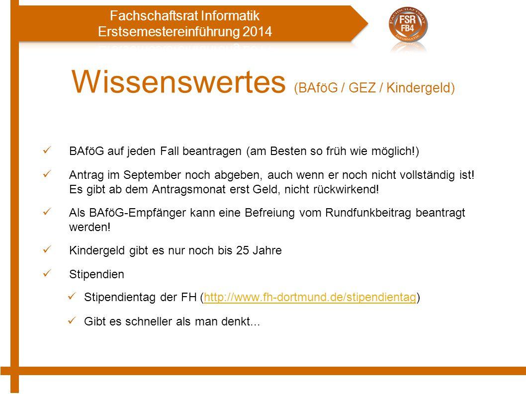 Wissenswertes (BAföG / GEZ / Kindergeld)