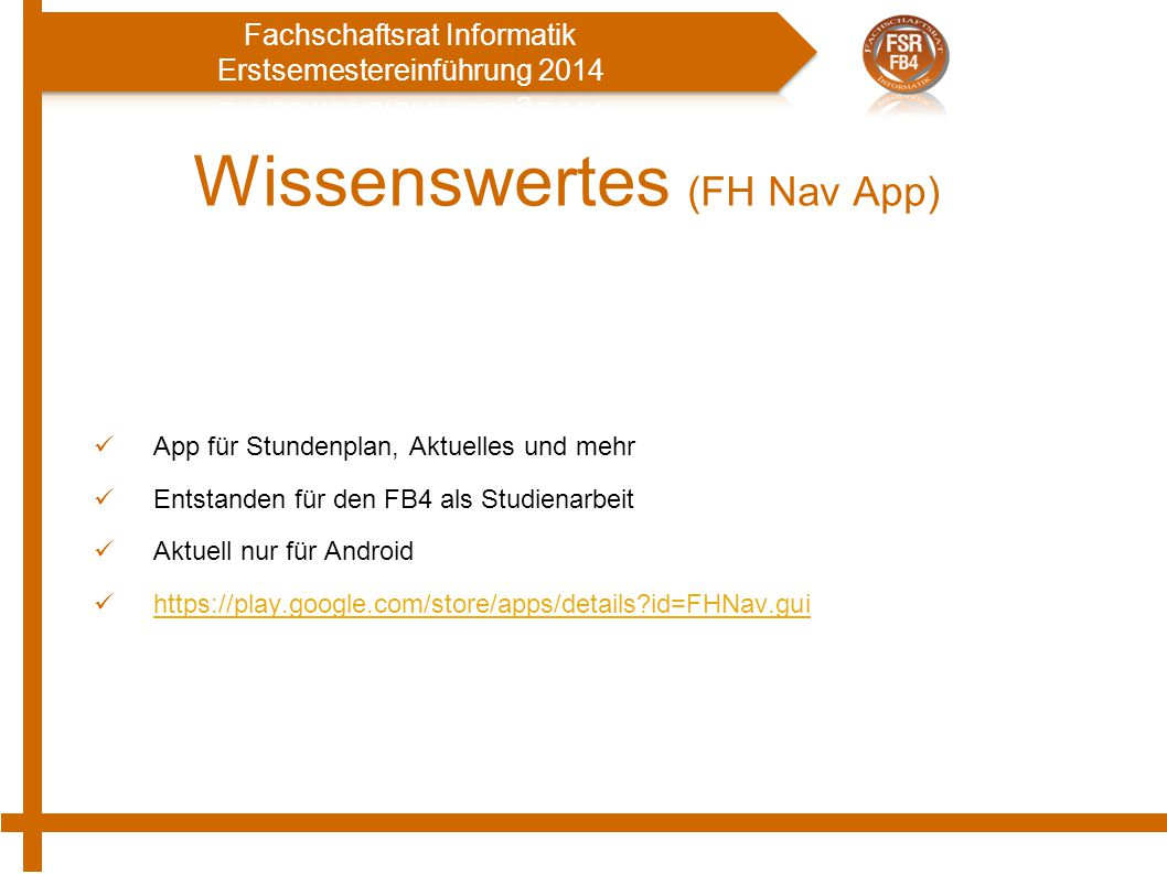 Wissenswertes (FH Nav App)