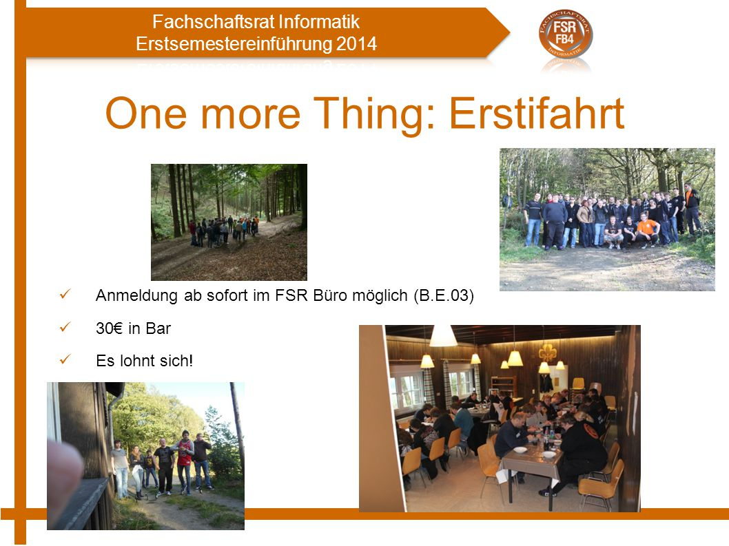 One more Thing: Erstifahrt