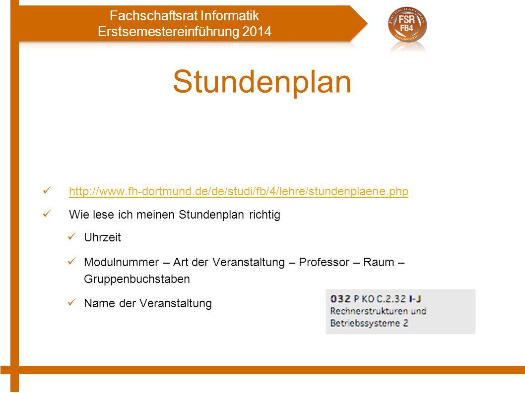 Stundenplan http://www.fh-dortmund.de/de/studi/fb/4/lehre/stundenplaene.php. Wie lese ich meinen Stundenplan richtig.