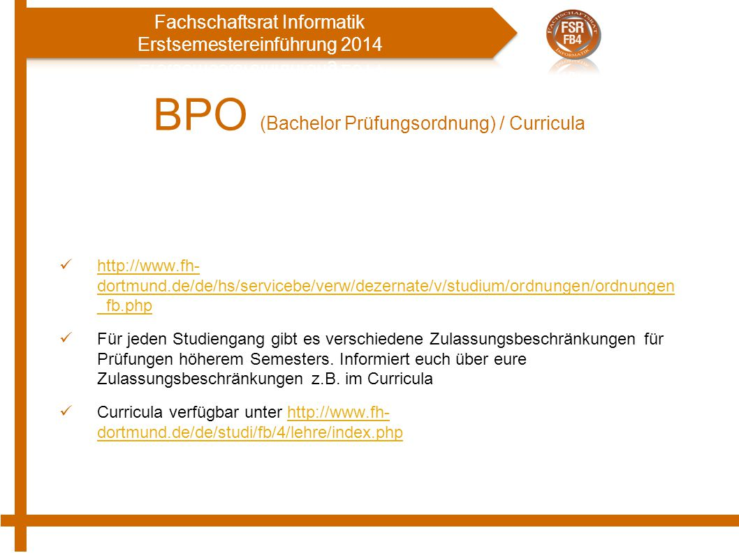 BPO (Bachelor Prüfungsordnung) / Curricula