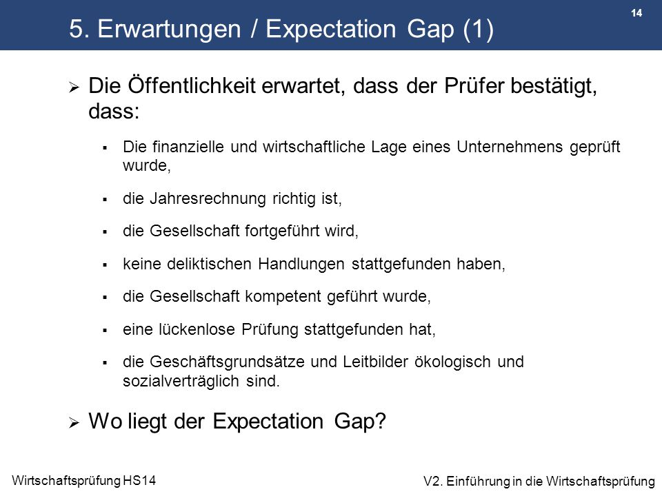 5. Erwartungen / Expectation Gap (1)