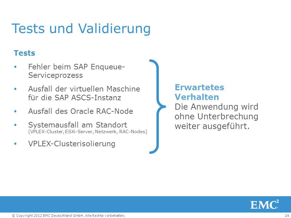 Tests und Validierung Tests. Fehler beim SAP Enqueue- Serviceprozess. Ausfall der virtuellen Maschine für die SAP ASCS-Instanz.