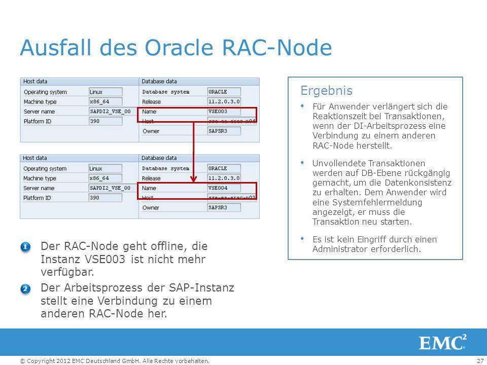 Ausfall des Oracle RAC-Node