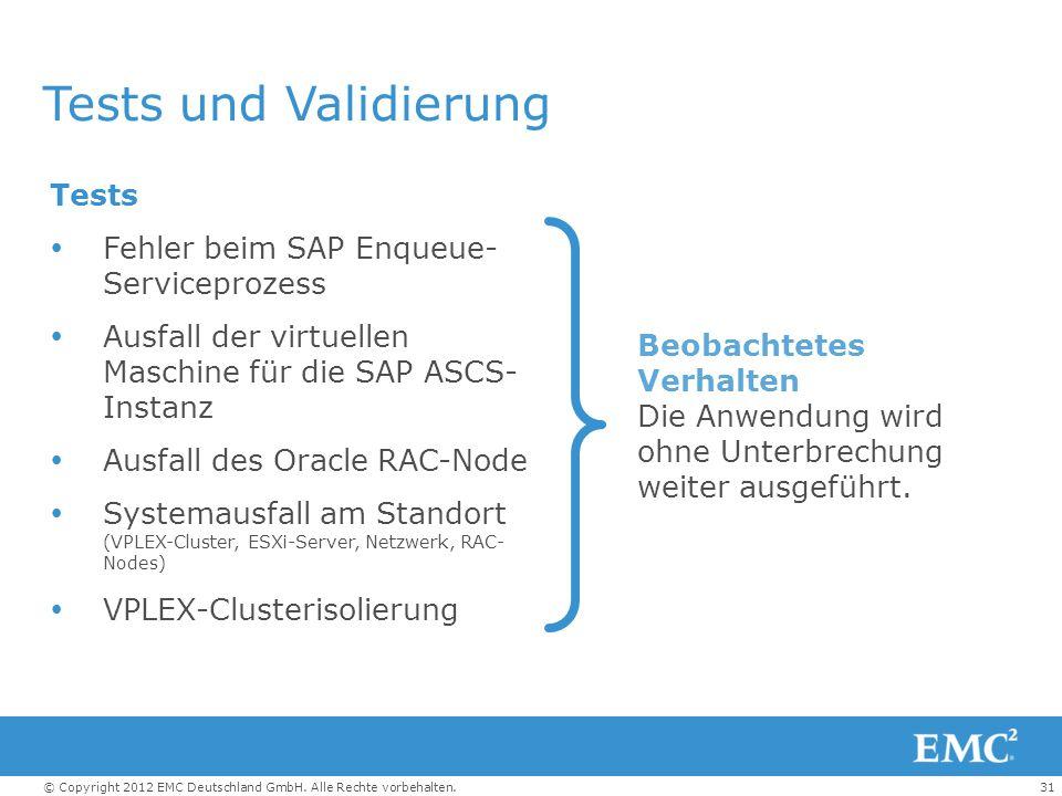 Tests und Validierung Tests Fehler beim SAP Enqueue- Serviceprozess