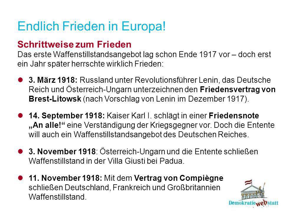 Endlich Frieden in Europa!