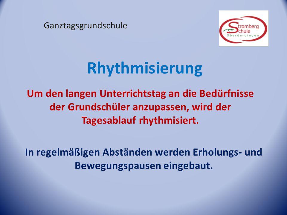 Ganztagsgrundschule Rhythmisierung. Um den langen Unterrichtstag an die Bedürfnisse der Grundschüler anzupassen, wird der Tagesablauf rhythmisiert.