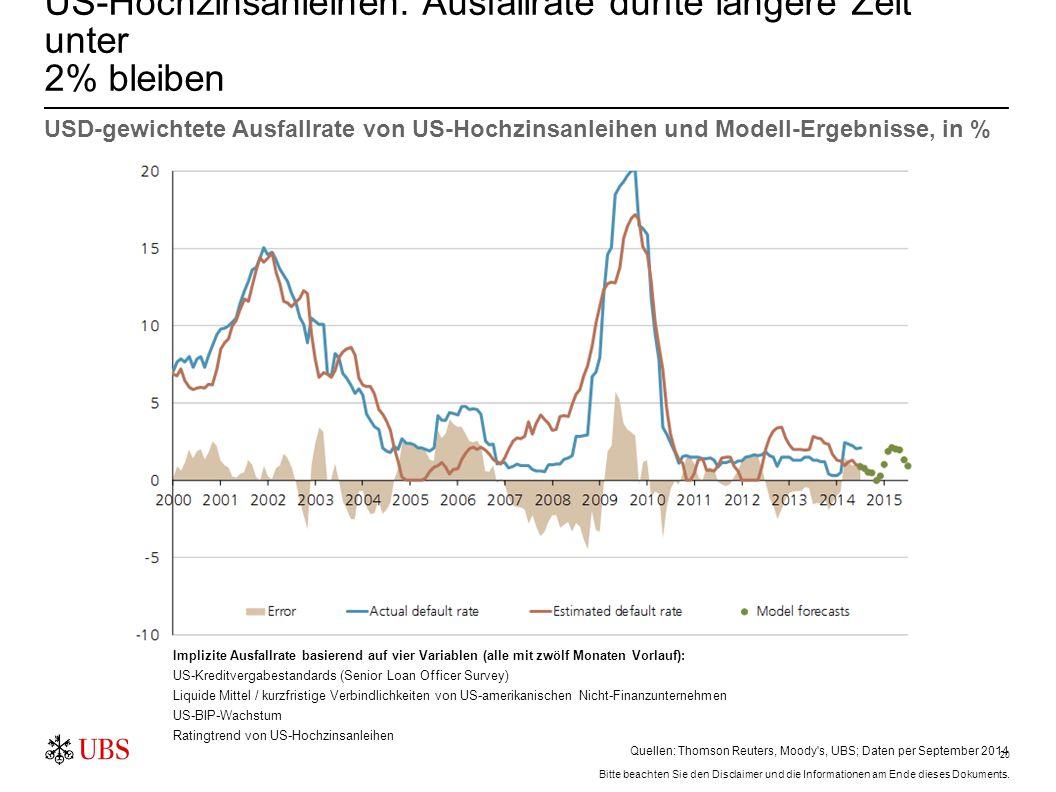 US-Hochzinsanleihen: Attraktive Risikoprämie (nach erwarteten Ausfällen)