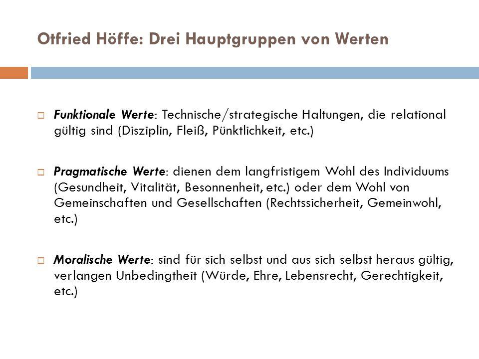 Otfried Höffe: Drei Hauptgruppen von Werten