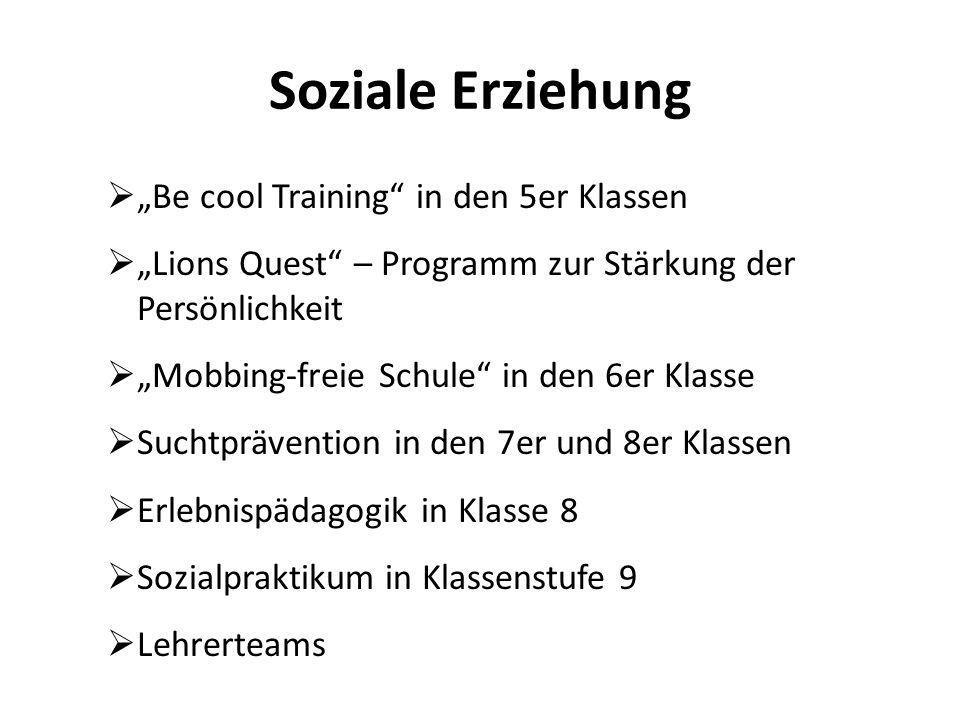 """Soziale Erziehung """"Be cool Training in den 5er Klassen"""