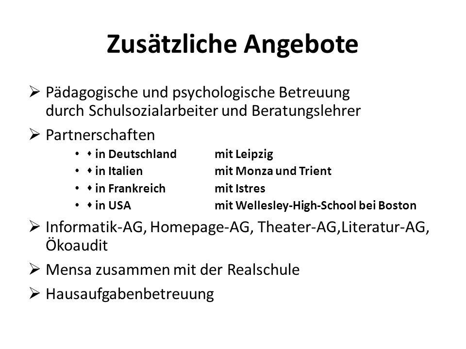 Zusätzliche Angebote Pädagogische und psychologische Betreuung durch Schulsozialarbeiter und Beratungslehrer.