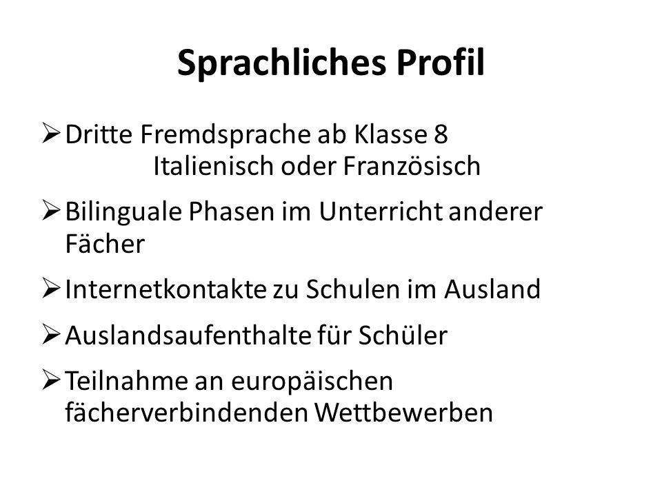 Sprachliches Profil Dritte Fremdsprache ab Klasse 8 Italienisch oder Französisch.