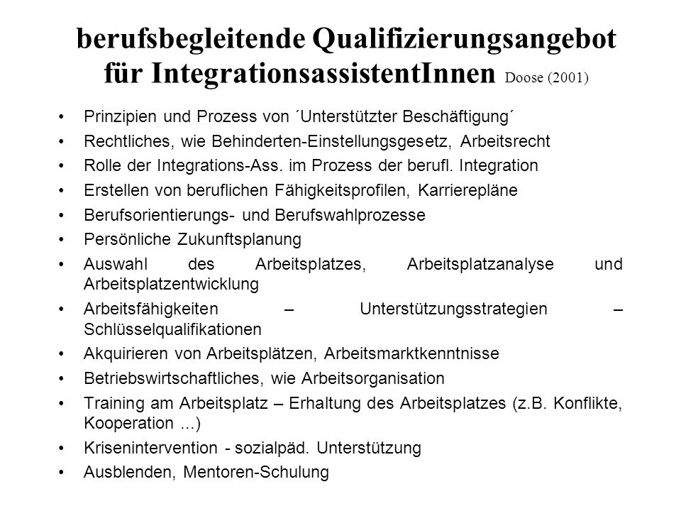 berufsbegleitende Qualifizierungsangebot für IntegrationsassistentInnen Doose (2001)