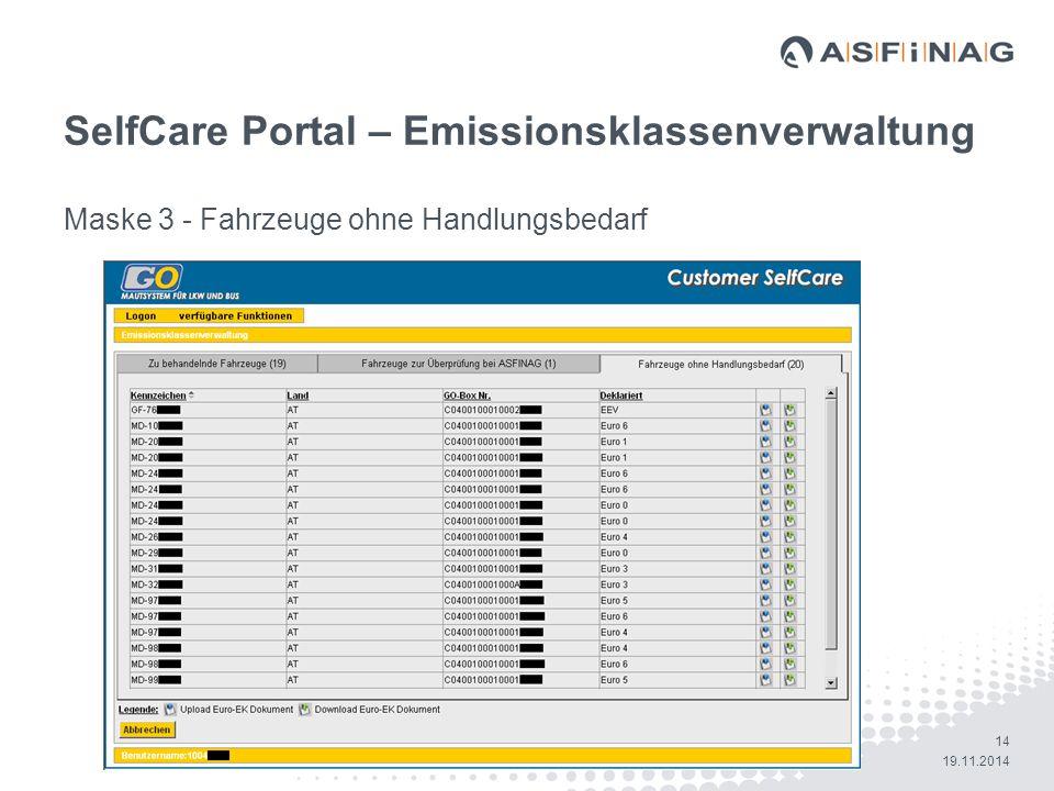 SelfCare Portal – Emissionsklassenverwaltung
