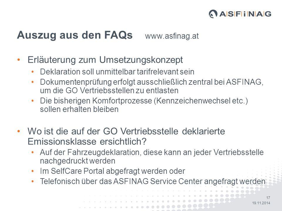 Auszug aus den FAQs www.asfinag.at