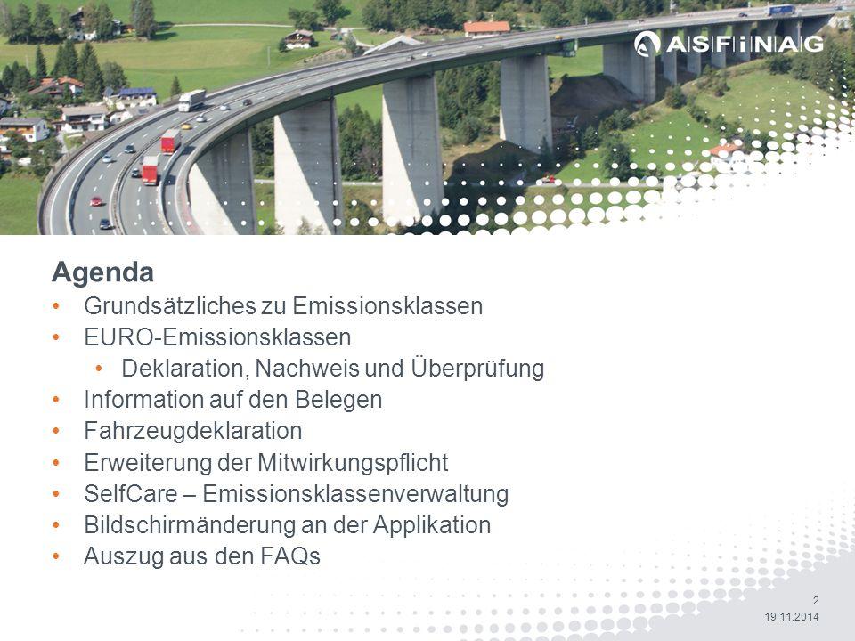 Agenda Agenda Grundsätzliches zu Emissionsklassen