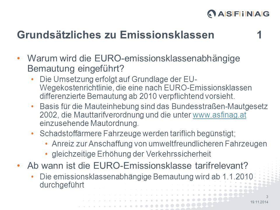 Grundsätzliches zu Emissionsklassen 1
