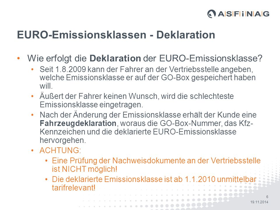EURO-Emissionsklassen - Deklaration