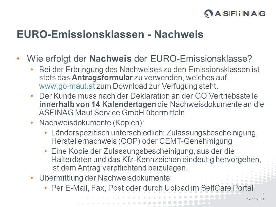 EURO-Emissionsklassen - Nachweis