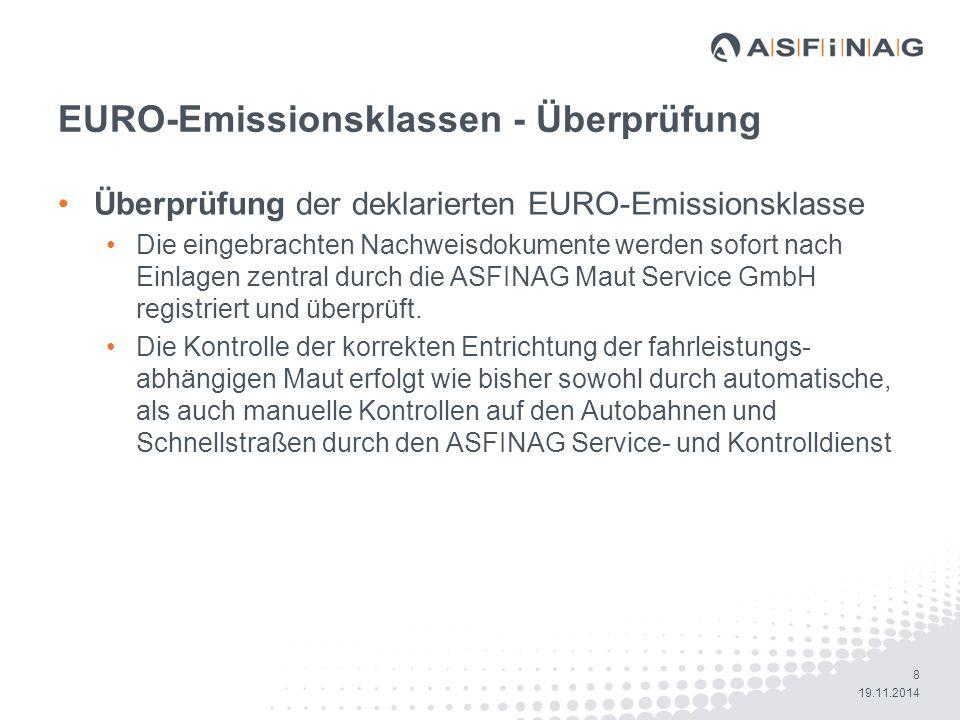 EURO-Emissionsklassen - Überprüfung