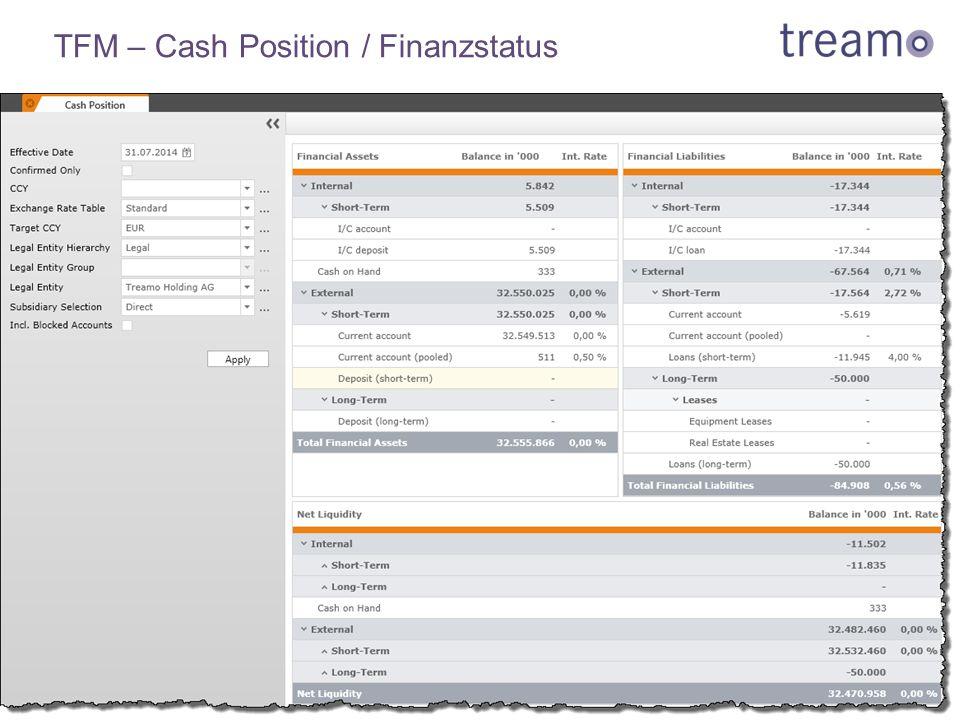 TFM – Cash Position / Finanzstatus