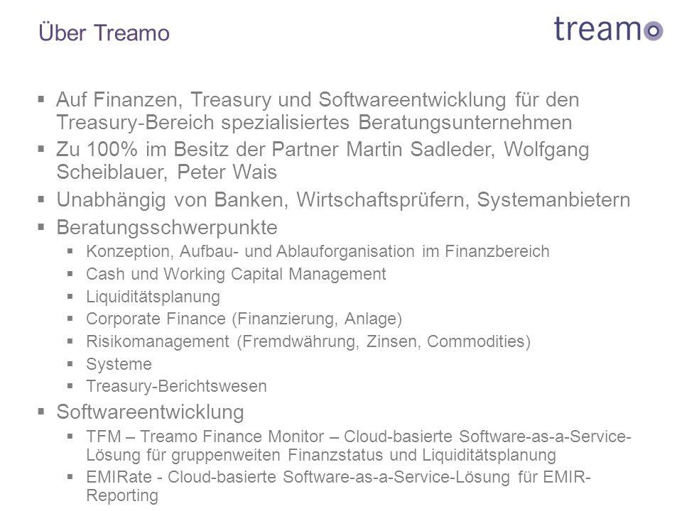 Über Treamo Auf Finanzen, Treasury und Softwareentwicklung für den Treasury-Bereich spezialisiertes Beratungsunternehmen.