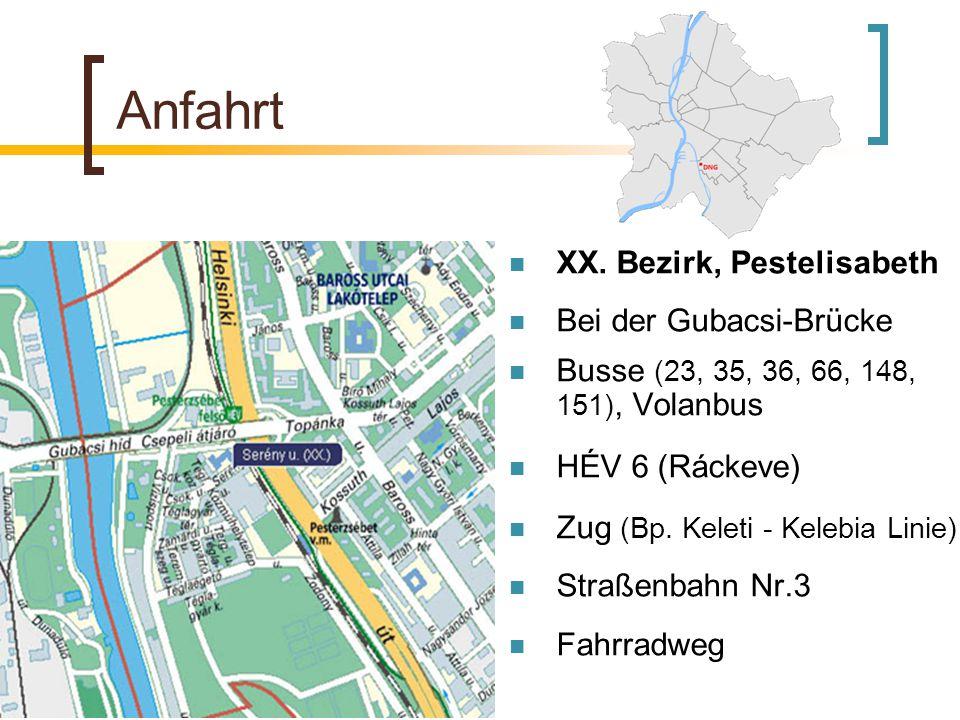 Anfahrt XX. Bezirk, Pestelisabeth Bei der Gubacsi-Brücke