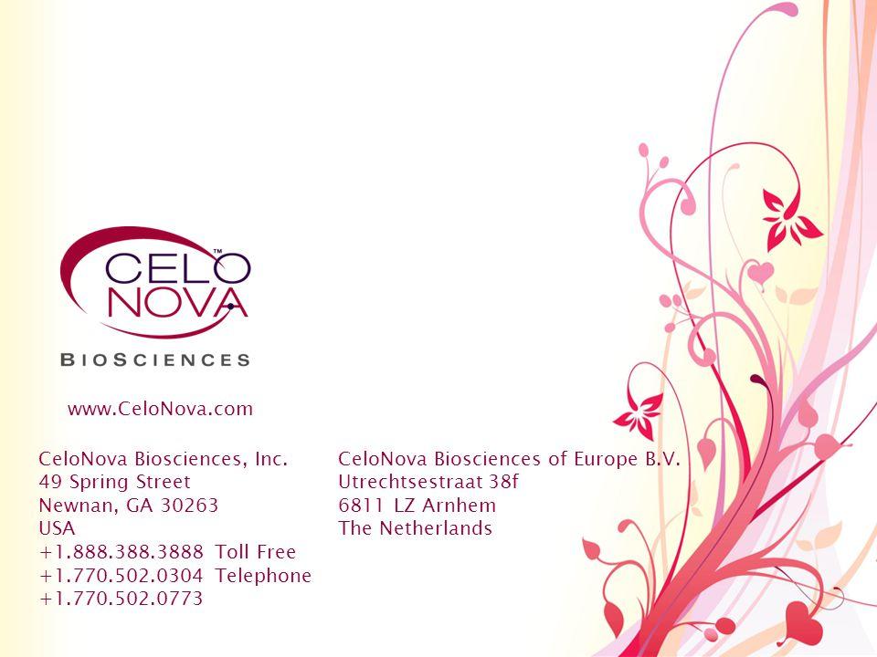 www.CeloNova.com CeloNova Biosciences, Inc. 49 Spring Street. Newnan, GA 30263. USA. +1.888.388.3888 Toll Free.