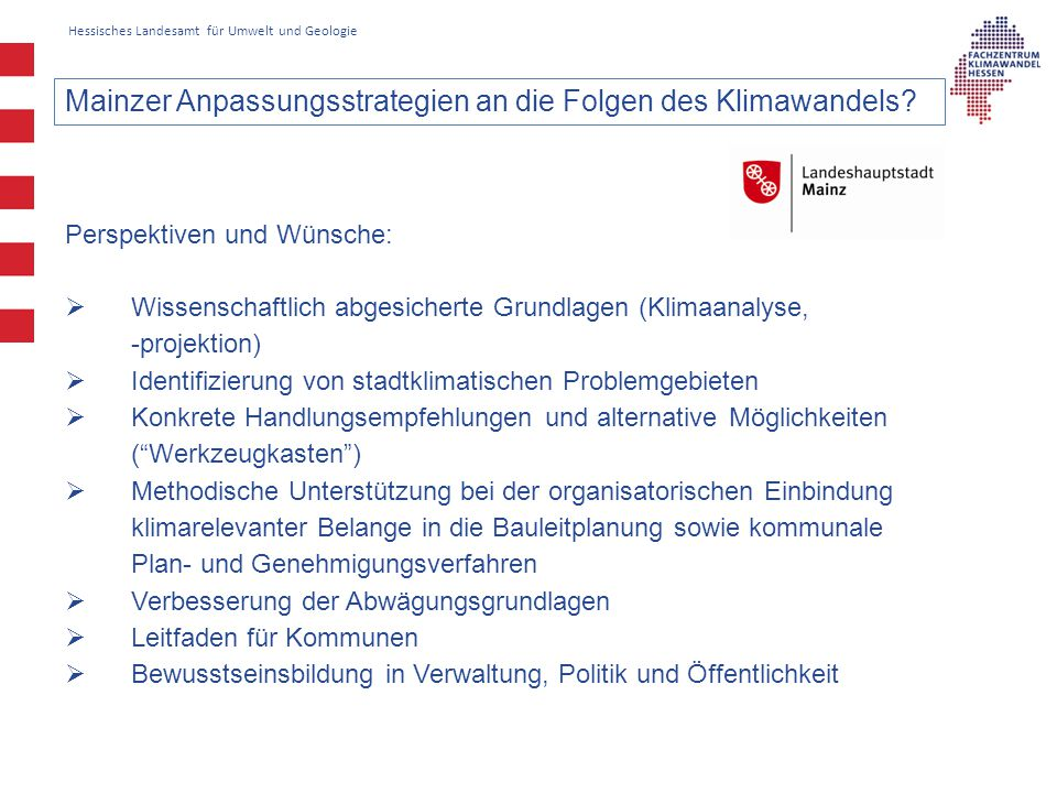 Mainzer Anpassungsstrategien an die Folgen des Klimawandels