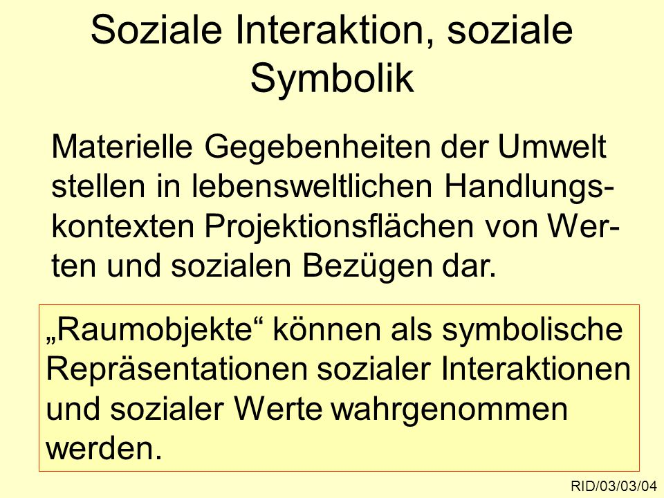 Soziale Interaktion, soziale Symbolik