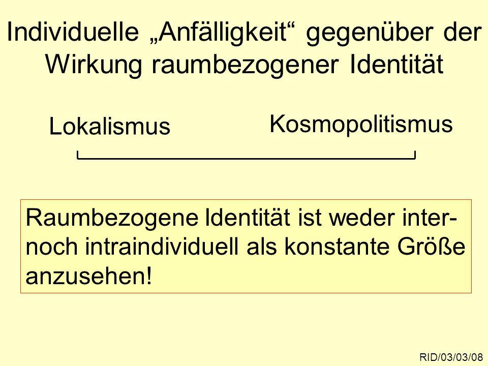 """Individuelle """"Anfälligkeit gegenüber der Wirkung raumbezogener Identität"""